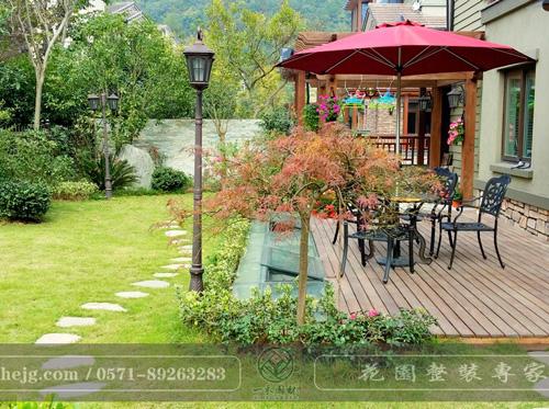 清源上林湖别墅花园景观设计|木平台景观设计|庭院花园假山水池施工
